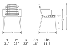 Centina Outdoor Restaurant Patio Arm Chair Specs