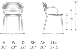 Mom Outdoor Restaurant Patio Arm Chair Specs