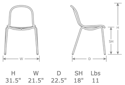 Nova Outdoor Restaurant Patio Side Chair Specs