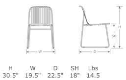 Riviera Outdoor Restaurant Patio Side Chair Specs