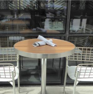 Sid Outdoor Restaurant Patio Wood Slat Table Top Oak Finish Idea